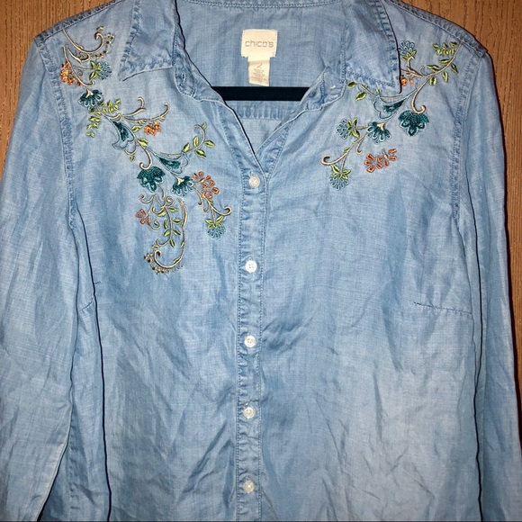0d63d20623 Chico s Tops - Chico s Floral Embroidered Denim Jean Shirt Size 2